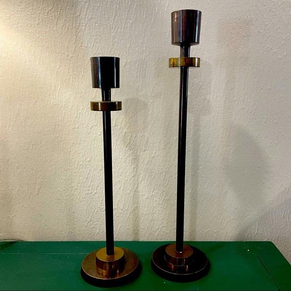 Set of 2 MCM Vintage Brass 2 Tone Candlesticks
